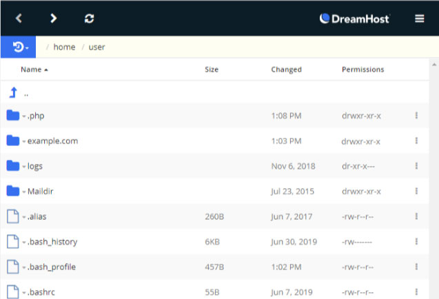 DreamHost's FTP File Manager List