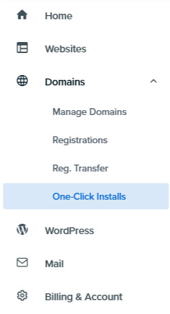 DreamHost web panel domains One Click Installs