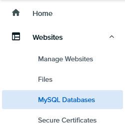 DreamHost web panel navigation MySQL link