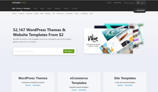 Themeforest - Envato Market Homepage
