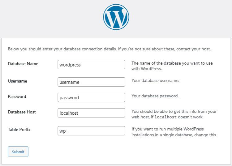 WordPress install configuration setup