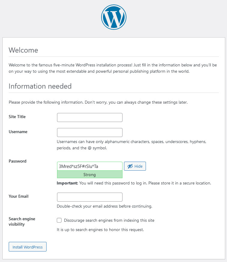 WordPress install finish the installation