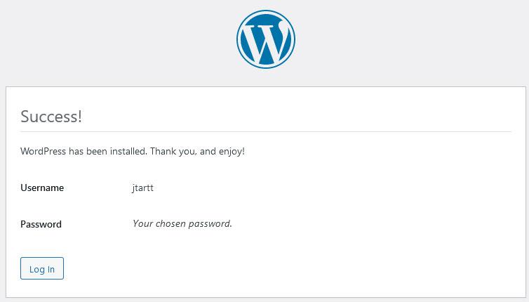 WordPress install installation complete screen