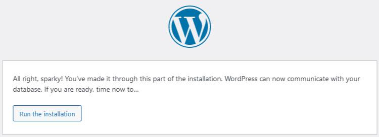 WordPress install run the install