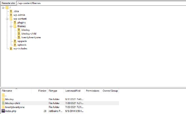 FileZilla remote site files
