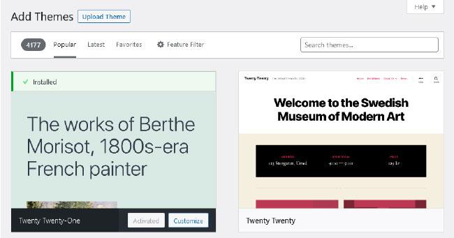 WordPress Theme Directory in Theme Management Screen